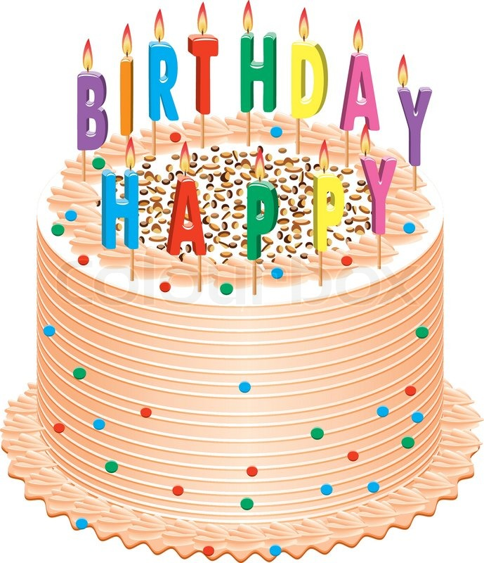 picture of birthday cake with burning candles ; 3604921-vector-birthday-cake-with-burning-candles