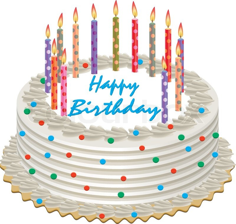 picture of birthday cake with burning candles ; 3883979-vector-birthday-cake-with-burning-candles