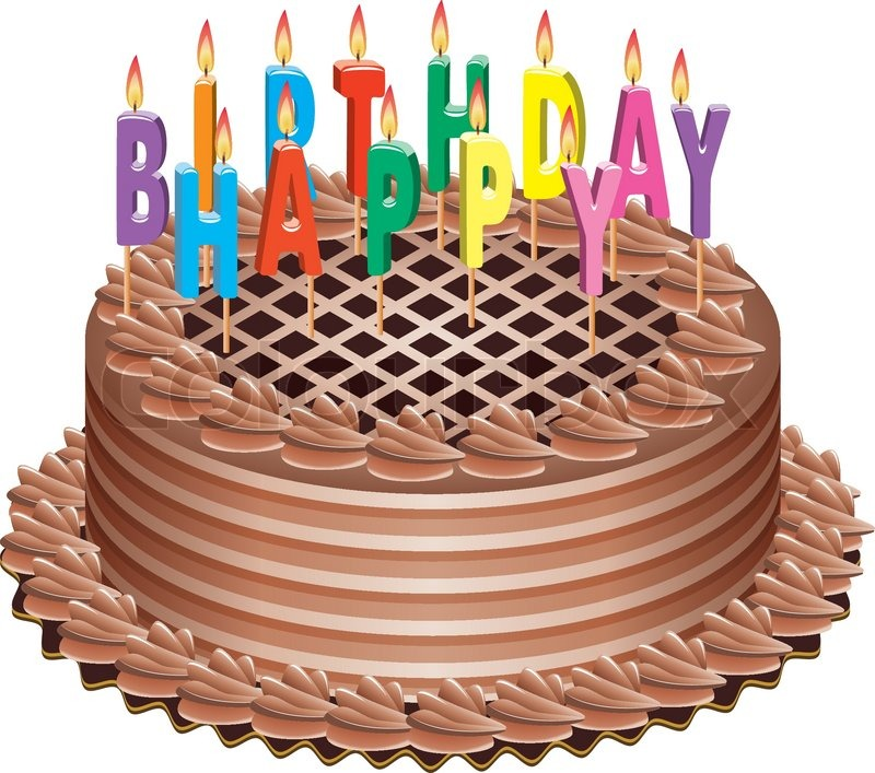 picture of birthday cake with burning candles ; 4108269-vector-birthday-cake-with-burning-candles