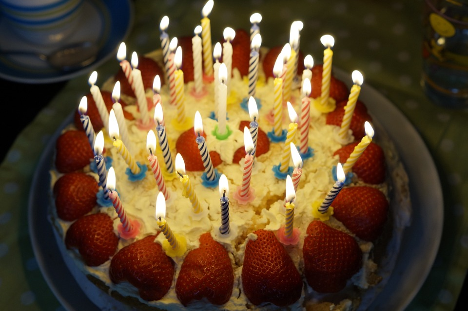 picture of birthday cake with burning candles ; birthday-cake-757103_960_720