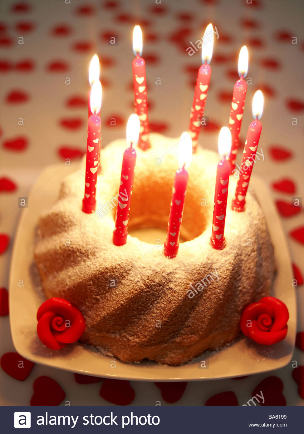 picture of birthday cake with burning candles ; birthday-cakes-candles-series-burn-food-pastries-forecastle-merchandise-BA6199