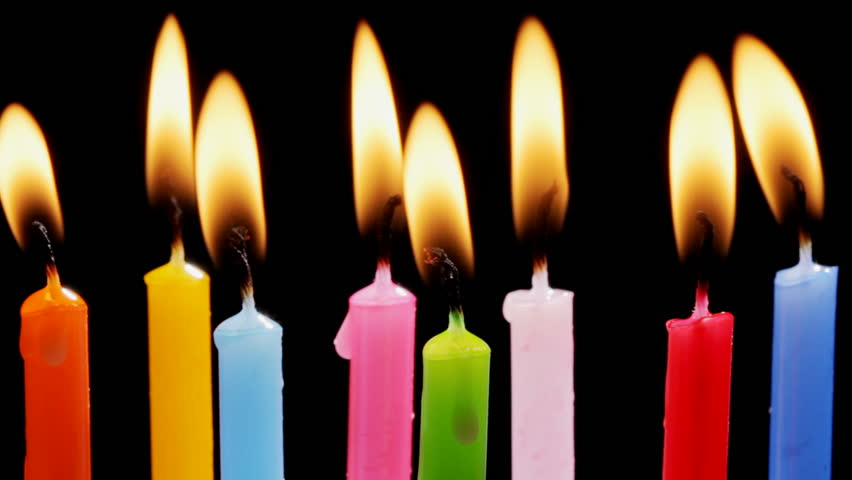 picture of birthday candles burning ; 1