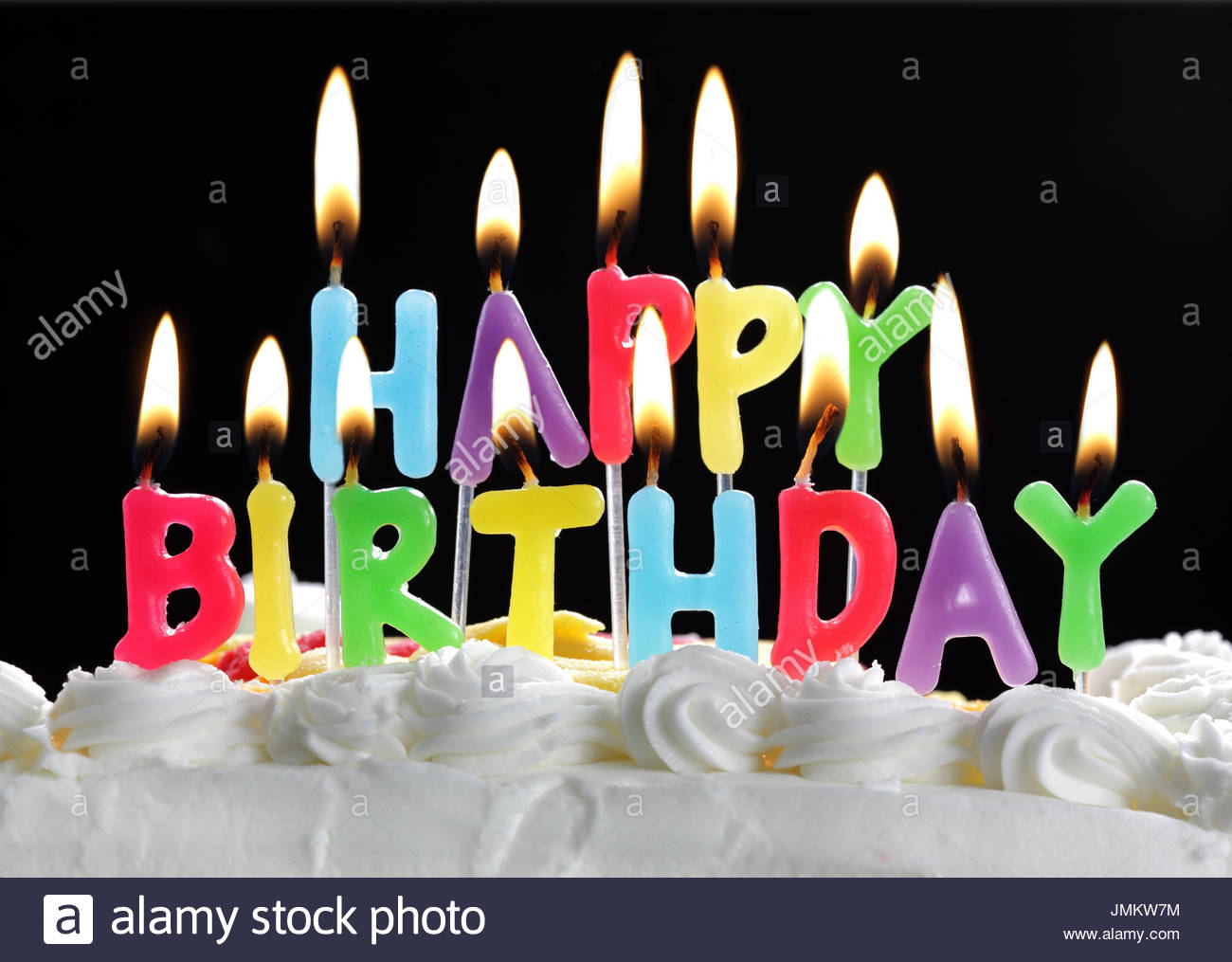 picture of birthday candles burning ; colorful-happy-birthday-candles-burning-on-a-cake-JMKW7M