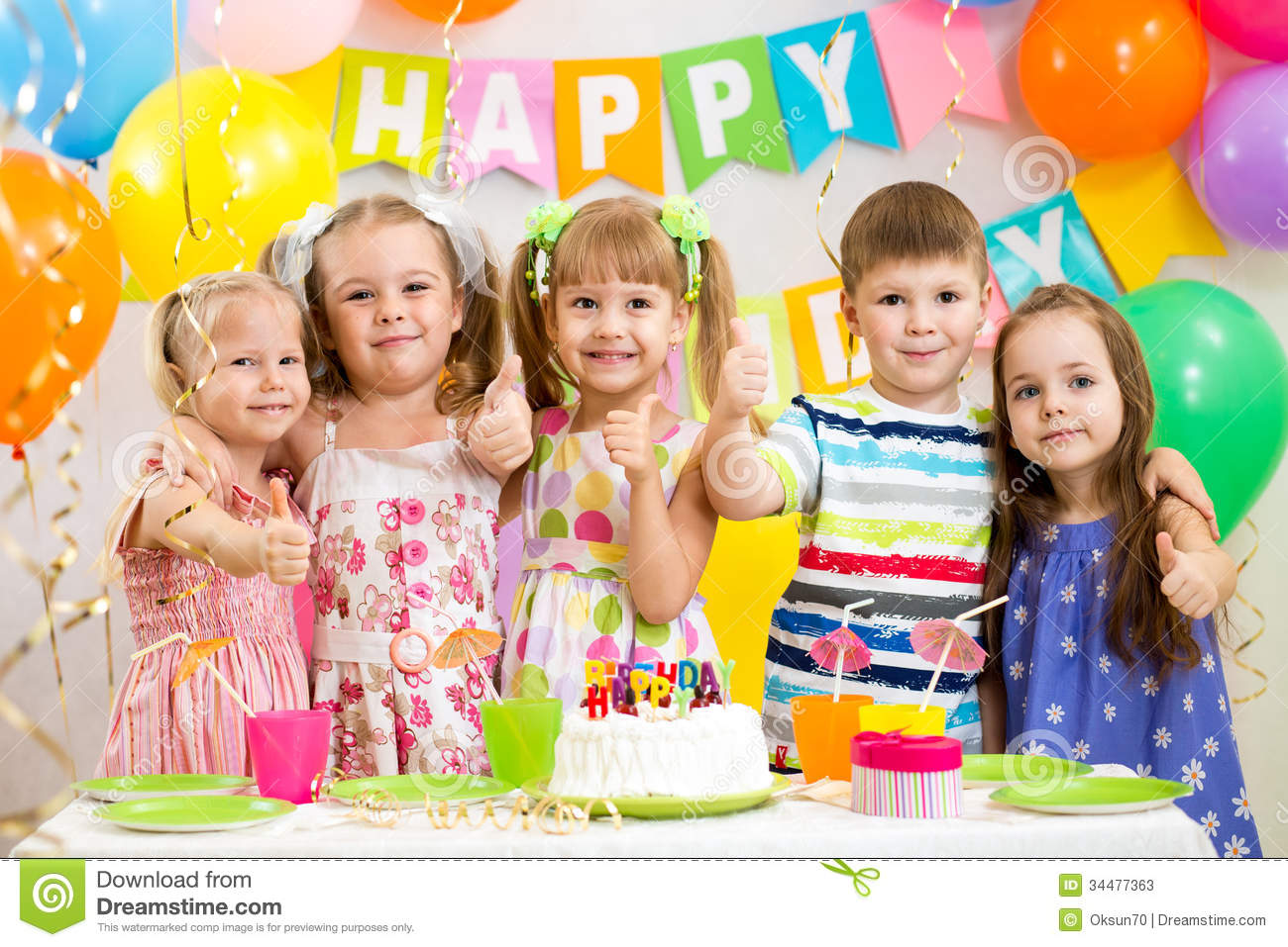 picture of birthday party celebration ; children-celebrating-birthday-party-happy-kids-34477363
