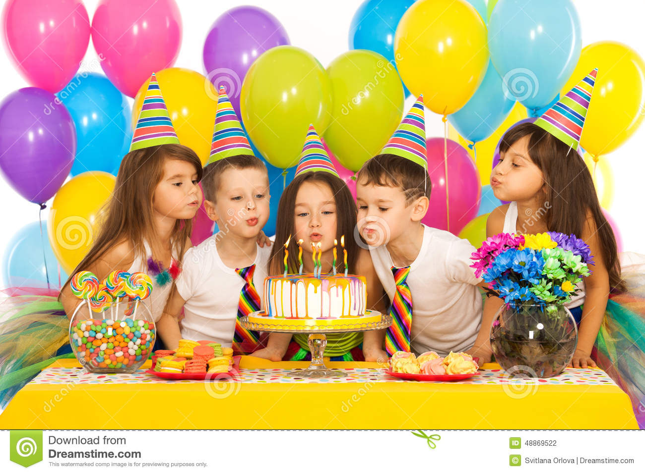 picture of birthday party celebration ; kids-celebrating-birthday-party-blowing-group-joyful-little-candles-cake-holidays-concept-48869522