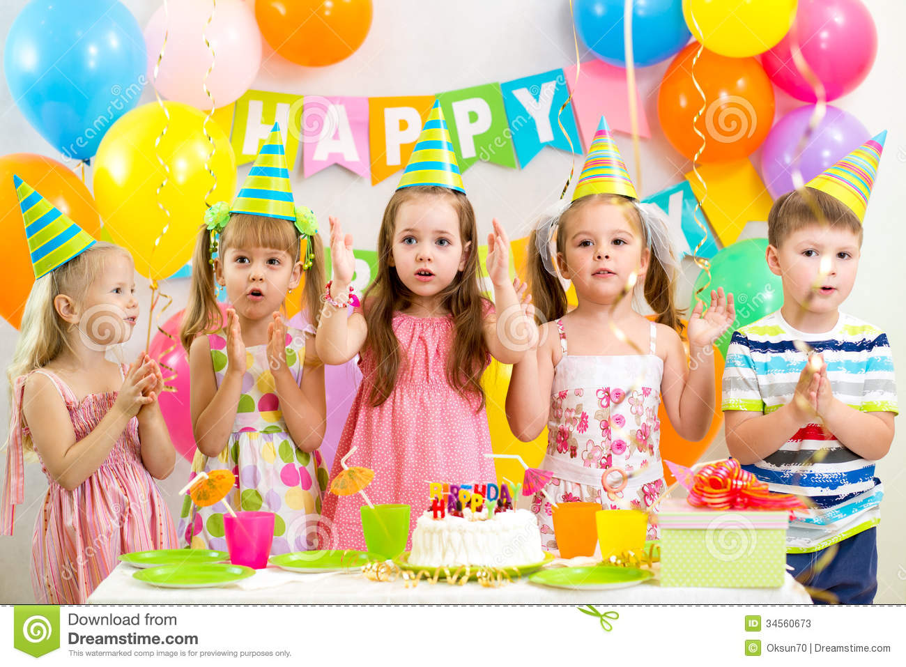 picture of birthday party celebration ; kids-celebrating-birthday-party-happy-holiday-34560673