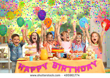 picture of birthday party celebration ; stock-photo-children-s-birthday-party-in-decorated-room-495961774