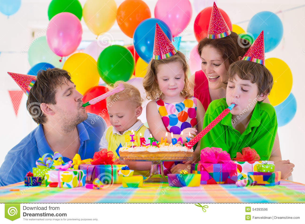 picture of birthday party celebration ; young-family-celebrating-birthday-party-happy-kids-parents-three-children-celebrate-together-child-baloon-decoration-cake-54393596