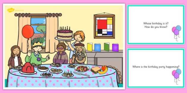 picture of birthday party scene ; T-E-582-Birthday-Party-Scene-and-Question-Cards