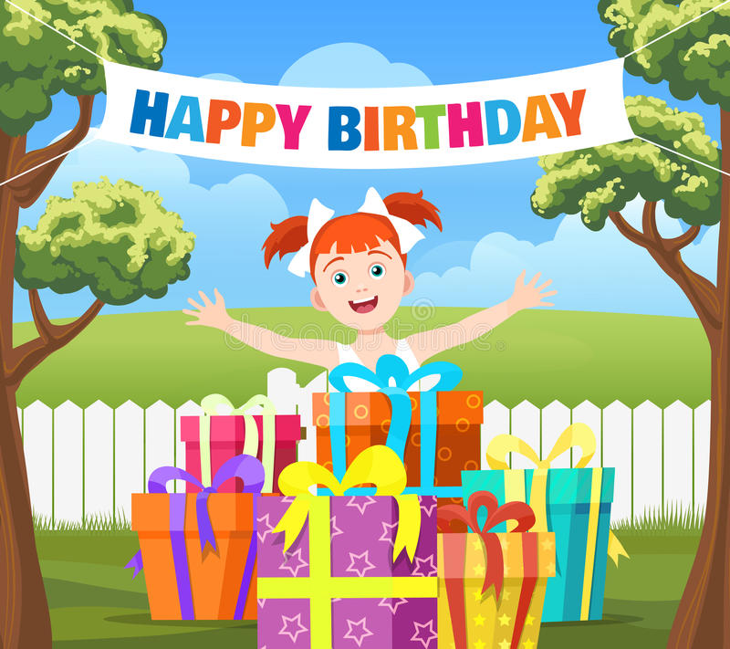 picture of birthday party scene ; backyard-birthday-party-scene-cartoon-vector-illustration-happy-girl-stack-gifts-ribbon-banner-happy-94224009