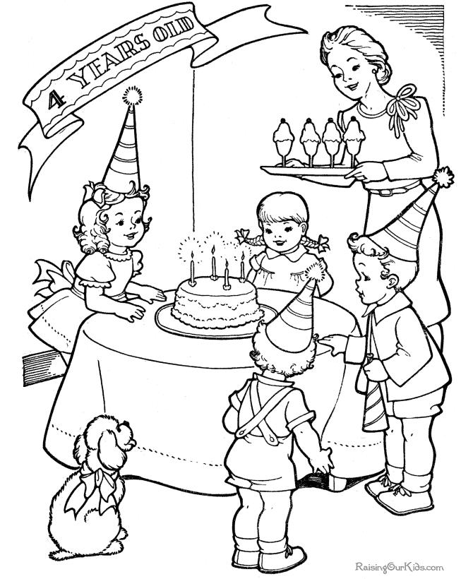 picture of birthday party scene ; birthday-party-scene-drawing-birthday-party-color-page-016