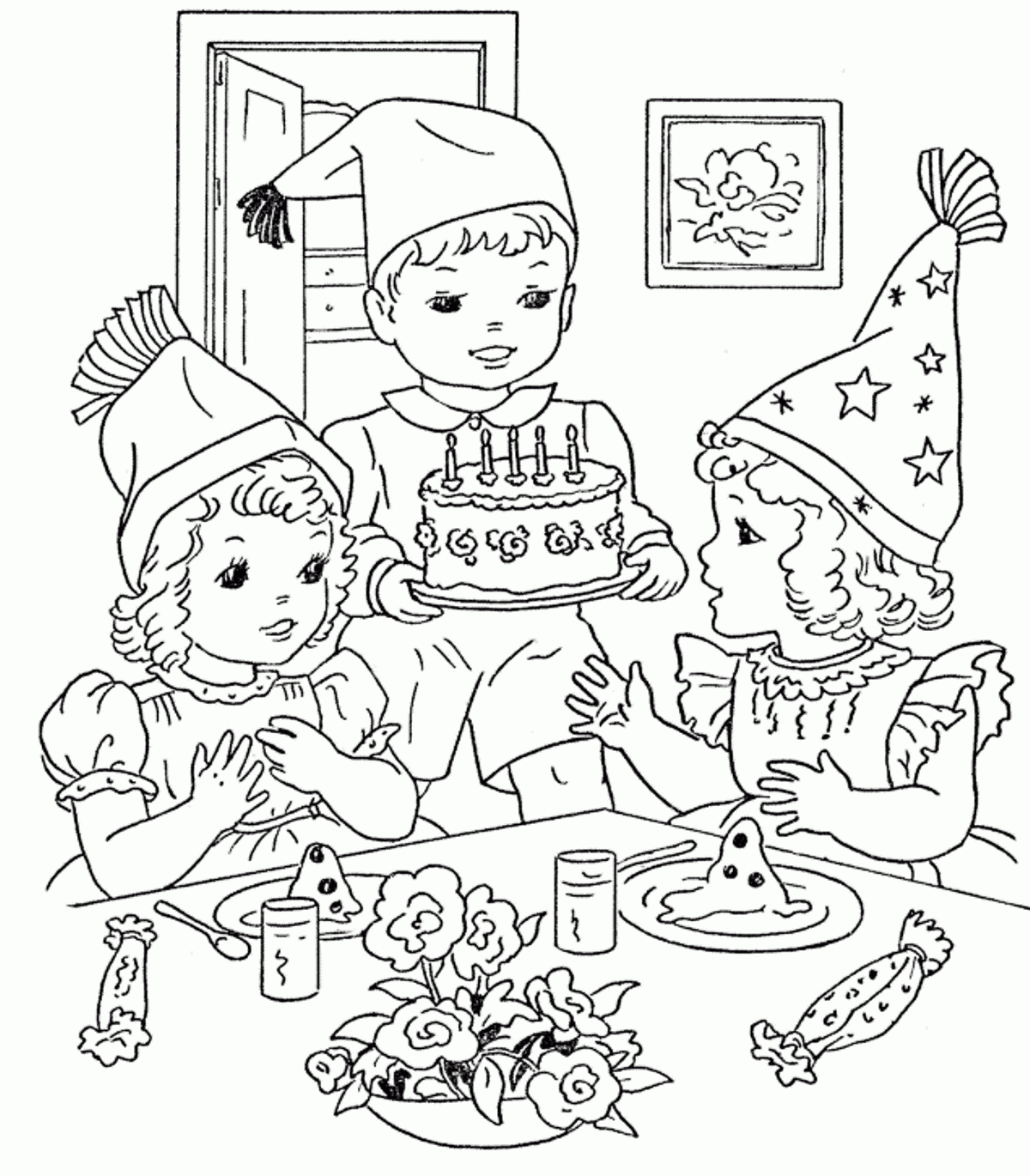 picture of birthday party scene ; birthday-party-scene-image-birthday-party-scene-for-drawing-coloring-pages-birthday-party-coloring-home