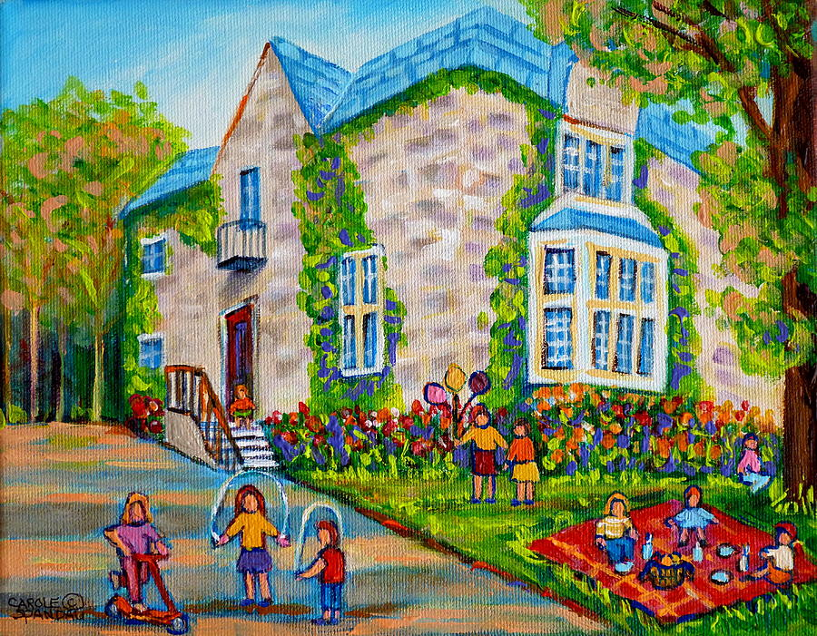 picture of birthday party scene ; westmount-birthday-party-montreal-urban-scene-little-girls-playing-carole-spandau