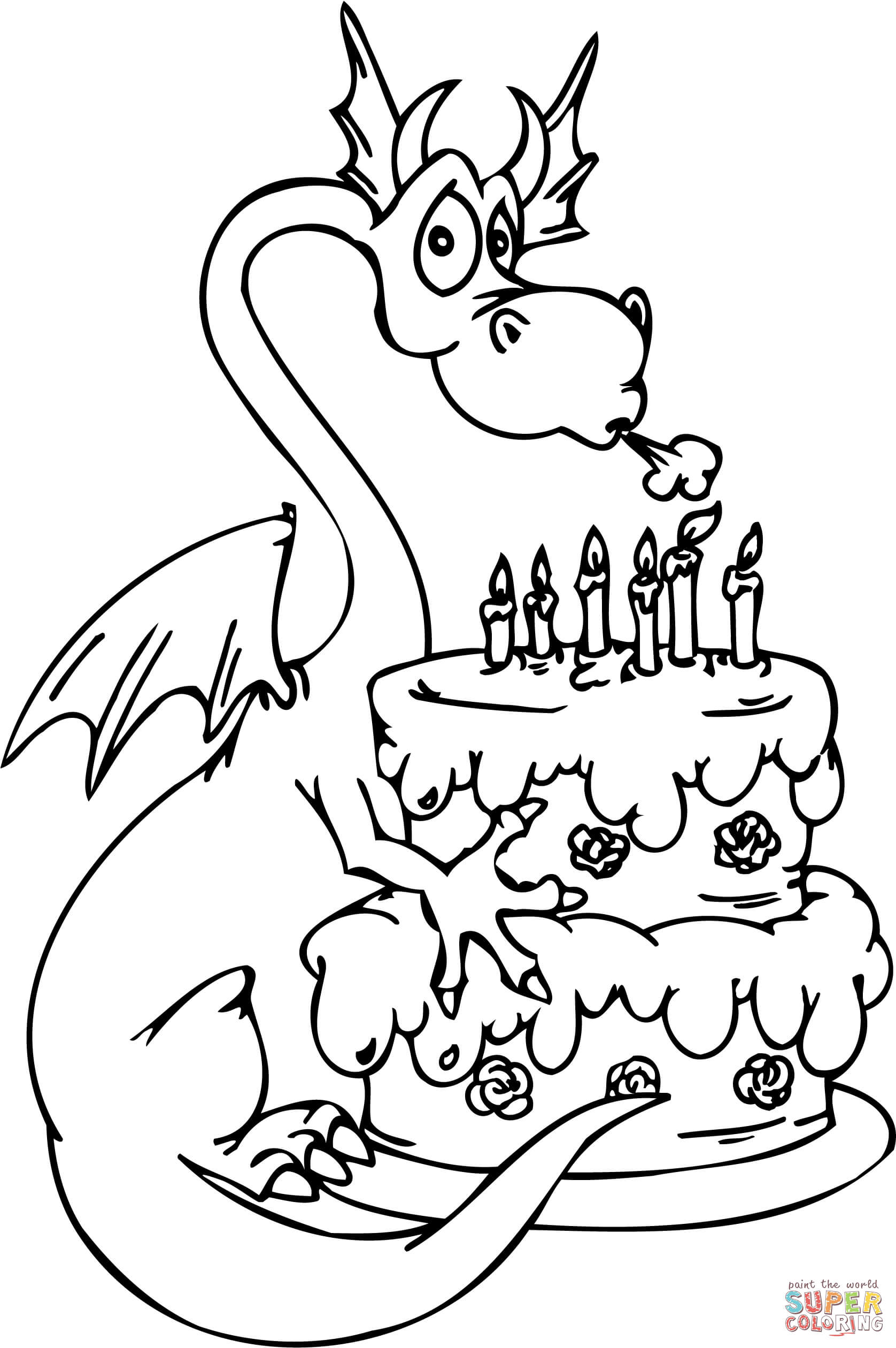 pictures of birthday cakes to colour in ; dragon-and-happy-birthday-cake-coloring-page