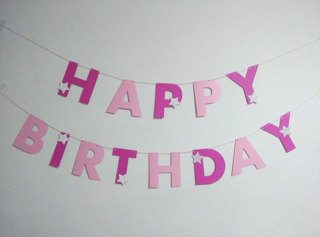 pink birthday banner ; Handmade-Letter-Pink-Garland-girls-Happy-Birthday-Banners-Party-Decoration-Home-Decor-Baby-Shower-silver-star