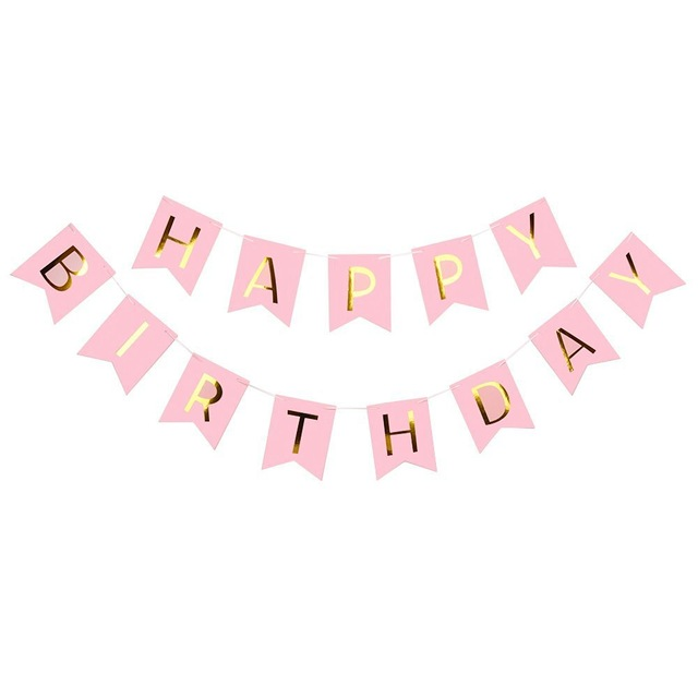 pink birthday banner ; Pink-white-Happy-Birthday-Banner-Garland-Hanging-Gold-Letters-Photo-Props-Bunting-Garland-Wedding-Decoration-Party