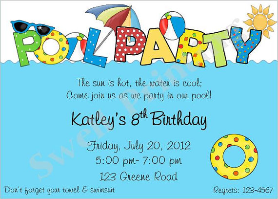 Pool Birthday Party Invitation Ideas Best Happy Wishes