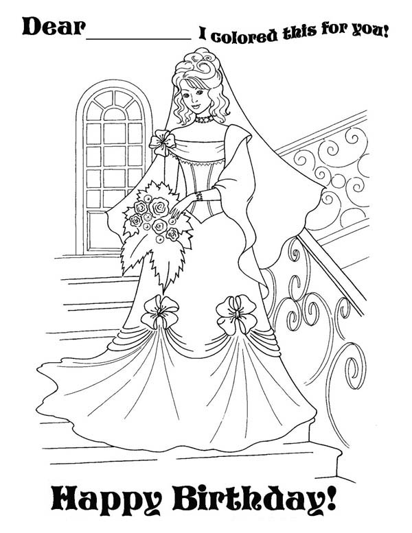 princess birthday coloring pages ; Beautiful-Princess-is-Having-Happy-Birthday-Party-Coloring-Page