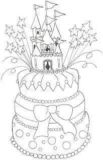 princess birthday coloring pages ; princess+cake