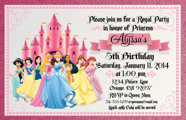 princess birthday invitation template ; Scroll-Disney-Princess-Birthday-Invitations