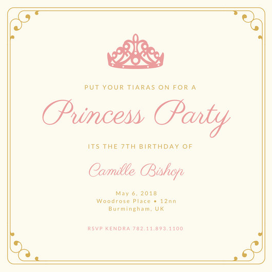 princess birthday invitation template ; canva-cream-bordered-princess-invitation-MACKk0ewNeo