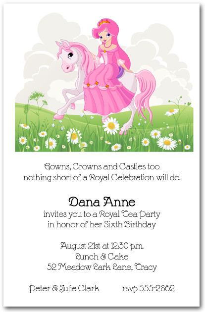 princess birthday invitations with photo ; Pink-Horse-and-Princess-Birthday-Invitation