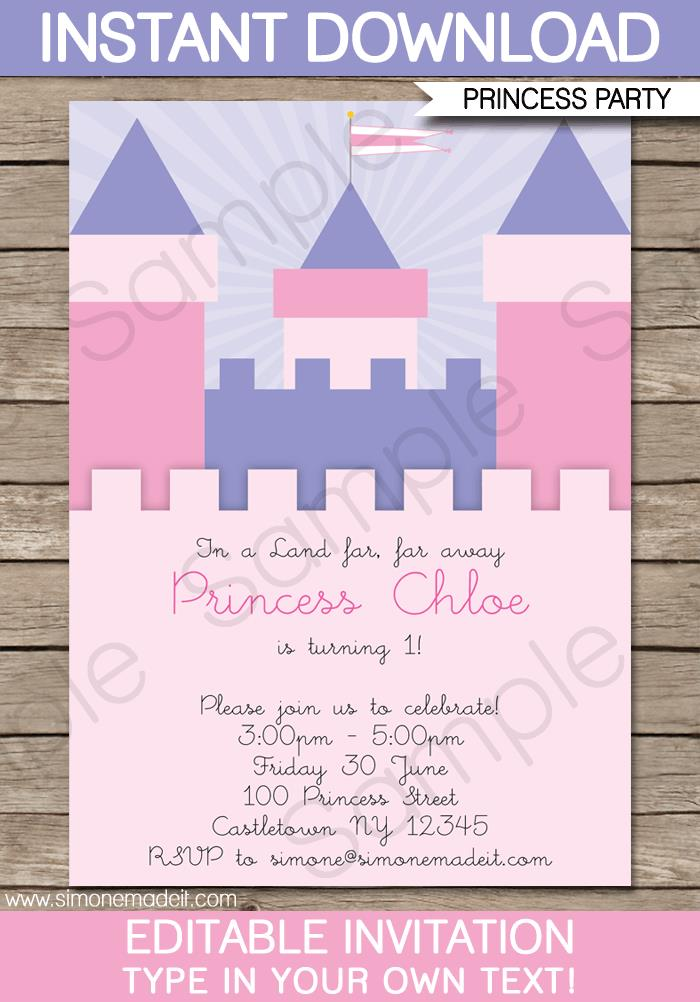 princess birthday invitations with photo ; Printable-Princess-Castle-Party-Invitation-Template