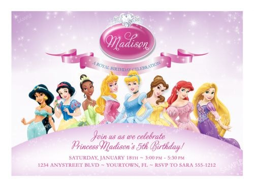 princess birthday invitations with photo ; disney-princess-birthday-invitations-completed-with-divine-appearance-your-invitation-card-design-2-portrayal-classy
