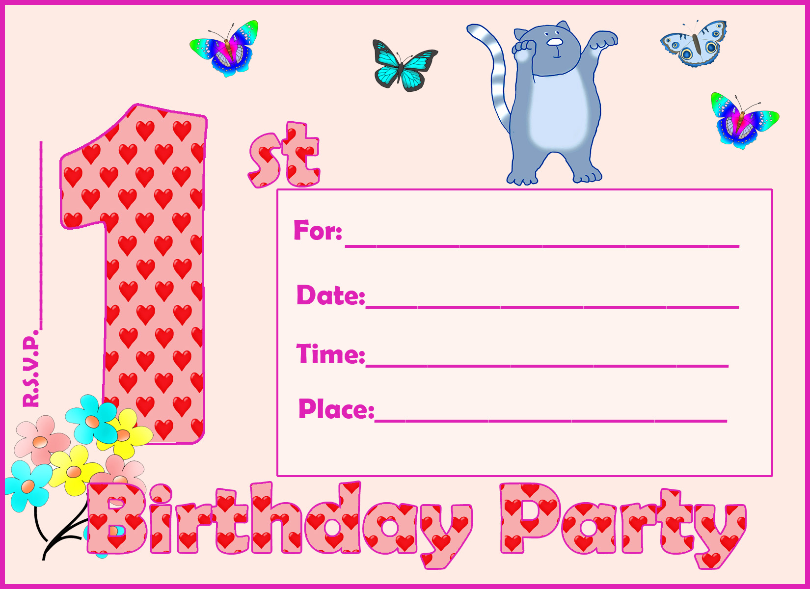 printable 1st birthday cards ; invitation-1-st-birthday-patterns-butterfly-cat
