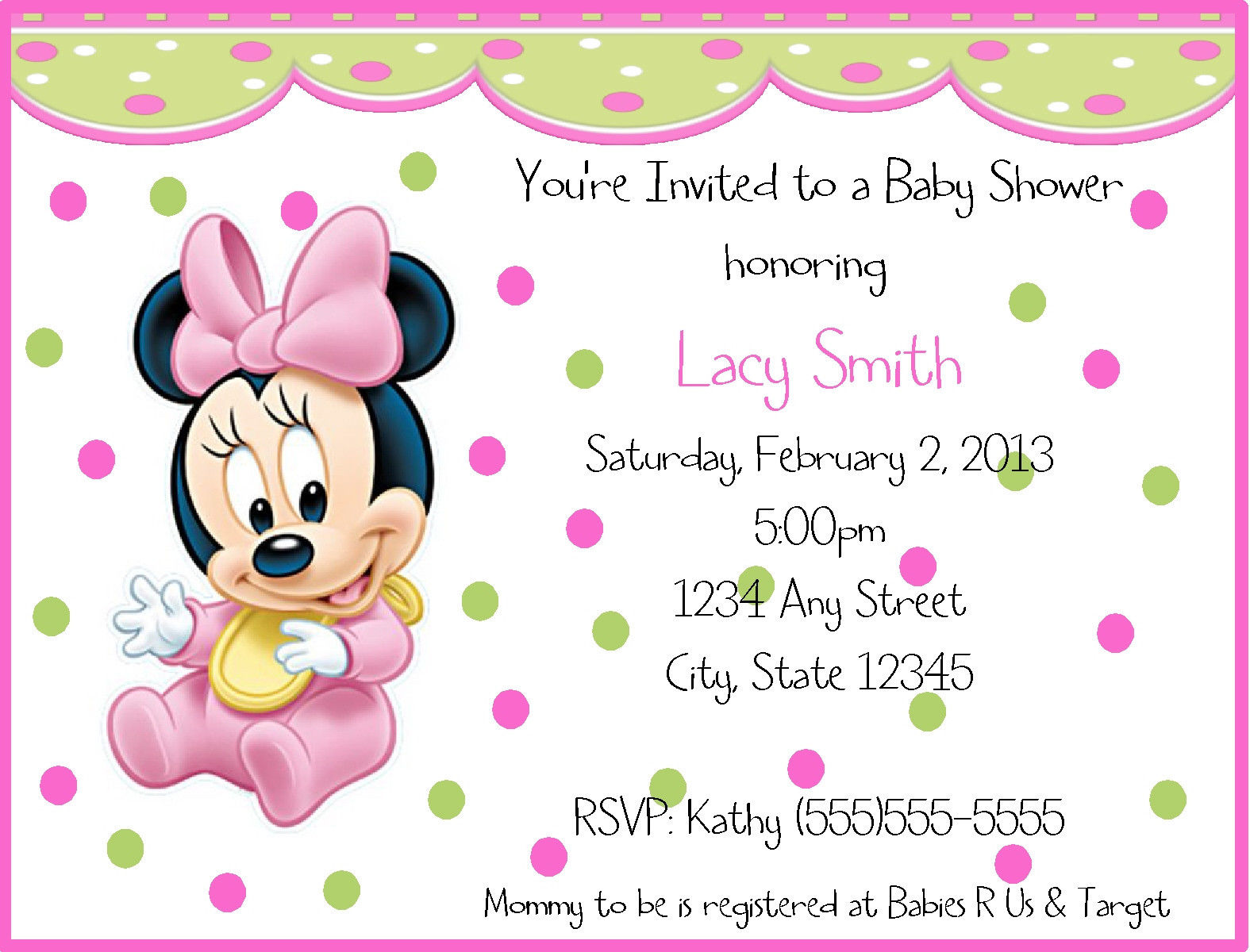 printable baby birthday invitations ; Baby-Minnie-Mouse-Birthday-Invitation-Wording