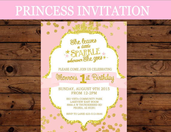 printable baby birthday invitations ; princess-invitation-first-birthday-invitation-crown-party-girls-birthday-baby-shower-pink-princess-party-princess-printables
