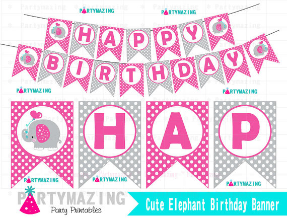printable birthday banner ; elephant-birthday-banner-printable-banner-polka-dot-elephant-banner-elephant-with-balloon-collection-d381-58cc0e581