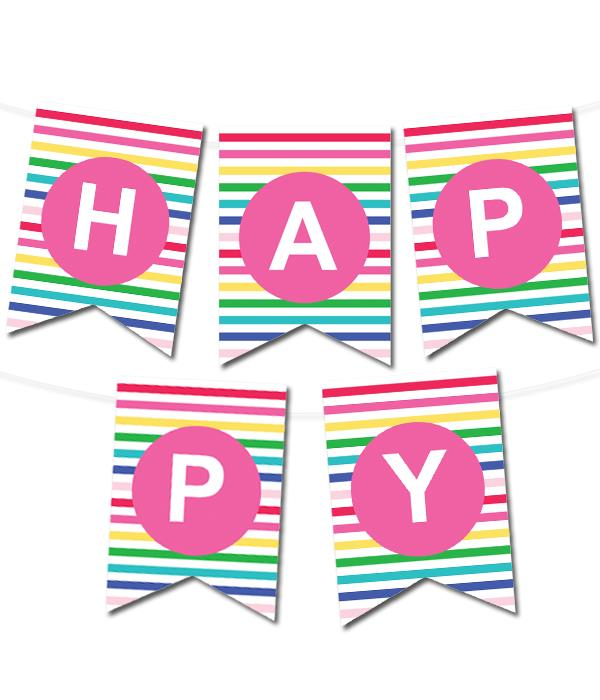printable birthday banner ; free-printable-pennant-banner-happy-stripes-party-2