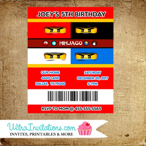 printable lego movie birthday invitations ; ninja-lego-party-invitations-personalized-500x500