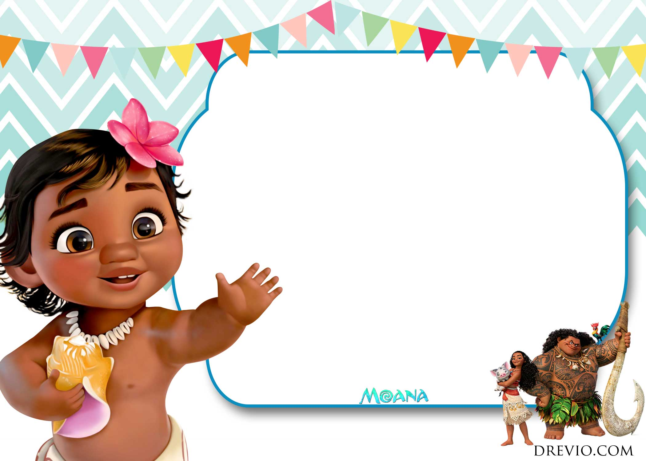 printable moana birthday card ; FREE-Printable-Little-Moana-Invitation-Template