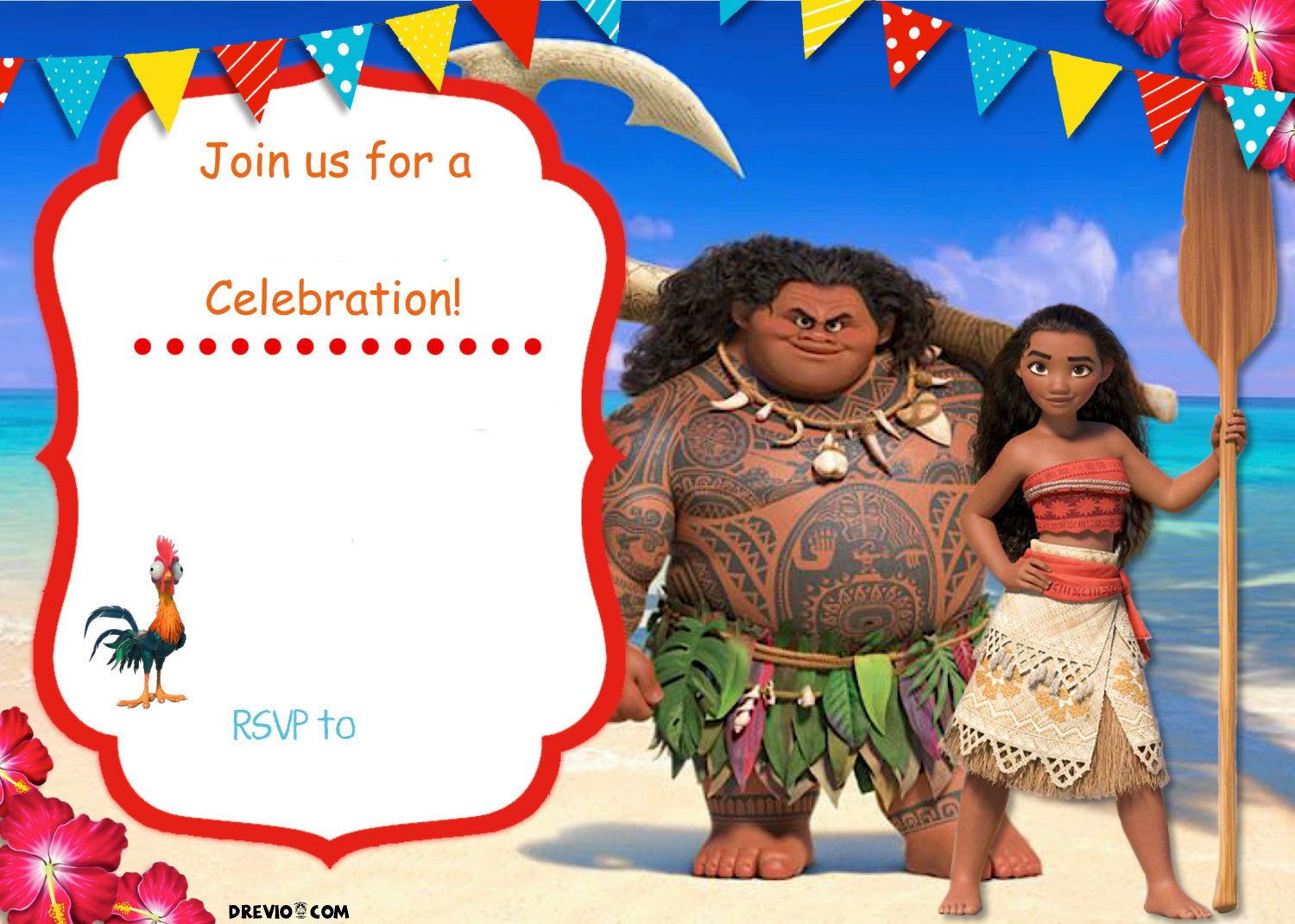 printable moana birthday card ; Free-Printable-Moana-Invitation-Template