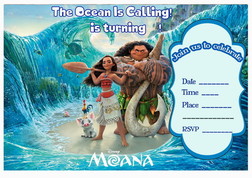 printable moana birthday card ; Moana-invitation-main