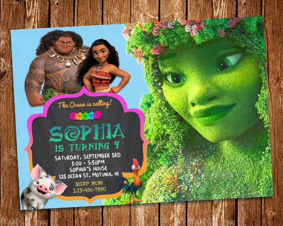 printable moana birthday card ; il_570xN