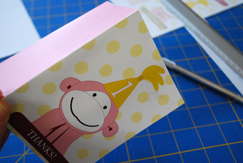 printable monkey birthday card ; printable-thank-you-cards-for-pink-monkey-1st-birthday-party_4