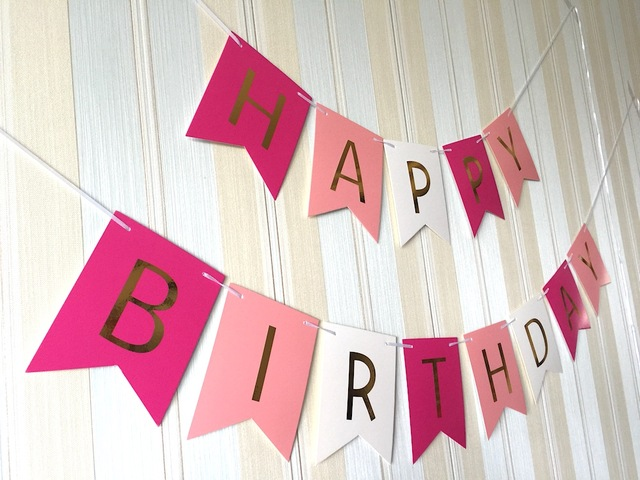 red and white happy birthday banner ; 12x15cm-Happy-Birthday-banner-golden-glitter-letters-red-pink-white-color-background-hanging-for-birthday-party