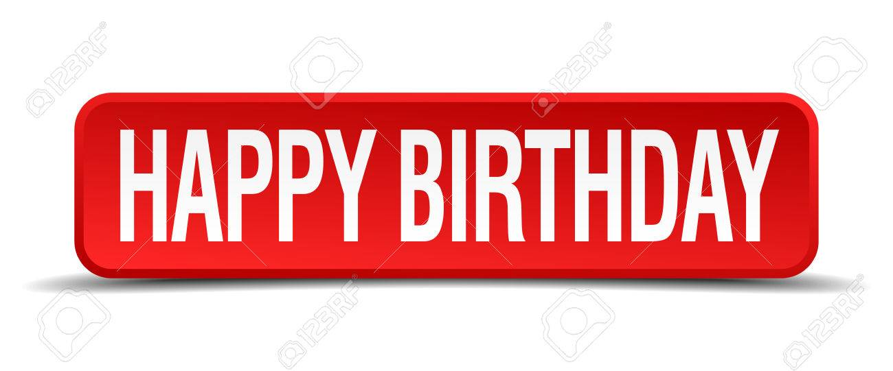red and white happy birthday banner ; 32227757-happy-birthday-red-3d-square-button-on-white-background