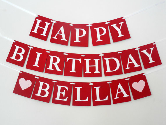 red and white happy birthday banner ; il_570xN
