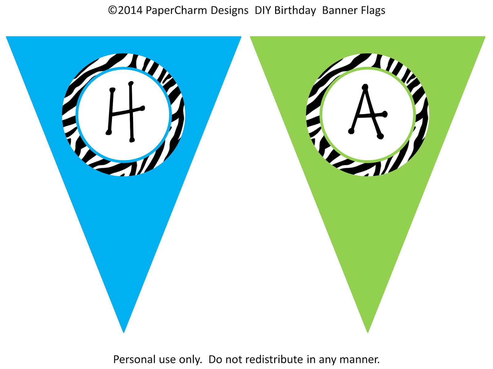 sample birthday banners designs ; BLUE+AND+GREEN+ZEBRA+DIY+BIRTHDAY+BANNER+SAMPLE