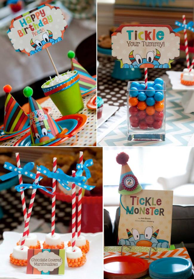 second birthday party themes ; 26-tickle-monster-boys-2nd-birthday-party