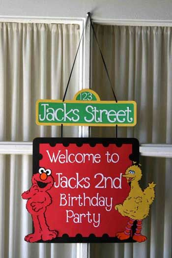 sesame street birthday door sign ; 37b272418474468bc7a4ca4cdf6d21f6