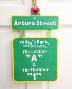sesame street birthday door sign ; 9d598b971c7b7d63345e58115aa04a71