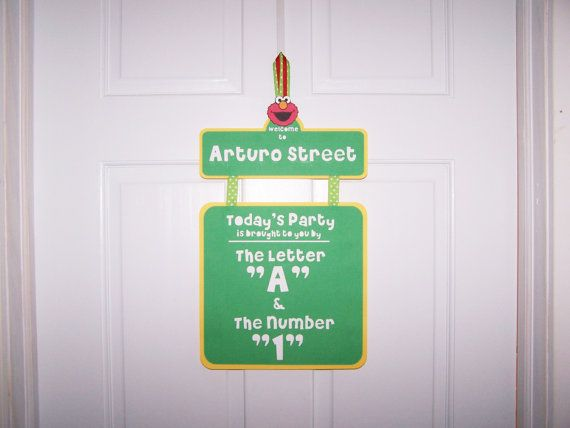sesame street birthday door sign ; b44d2a9c12f174e3f607ba456f0e7c5d