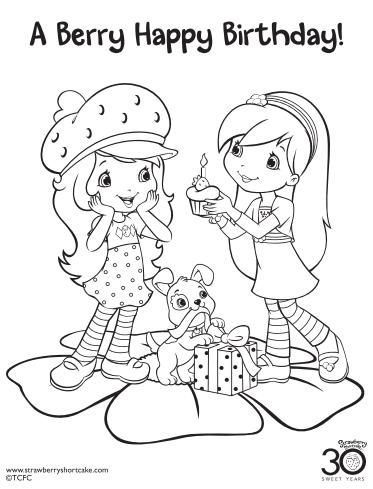 simple birthday party drawings ; Strawberry-Shortcake-Coloring-Page-Birthday