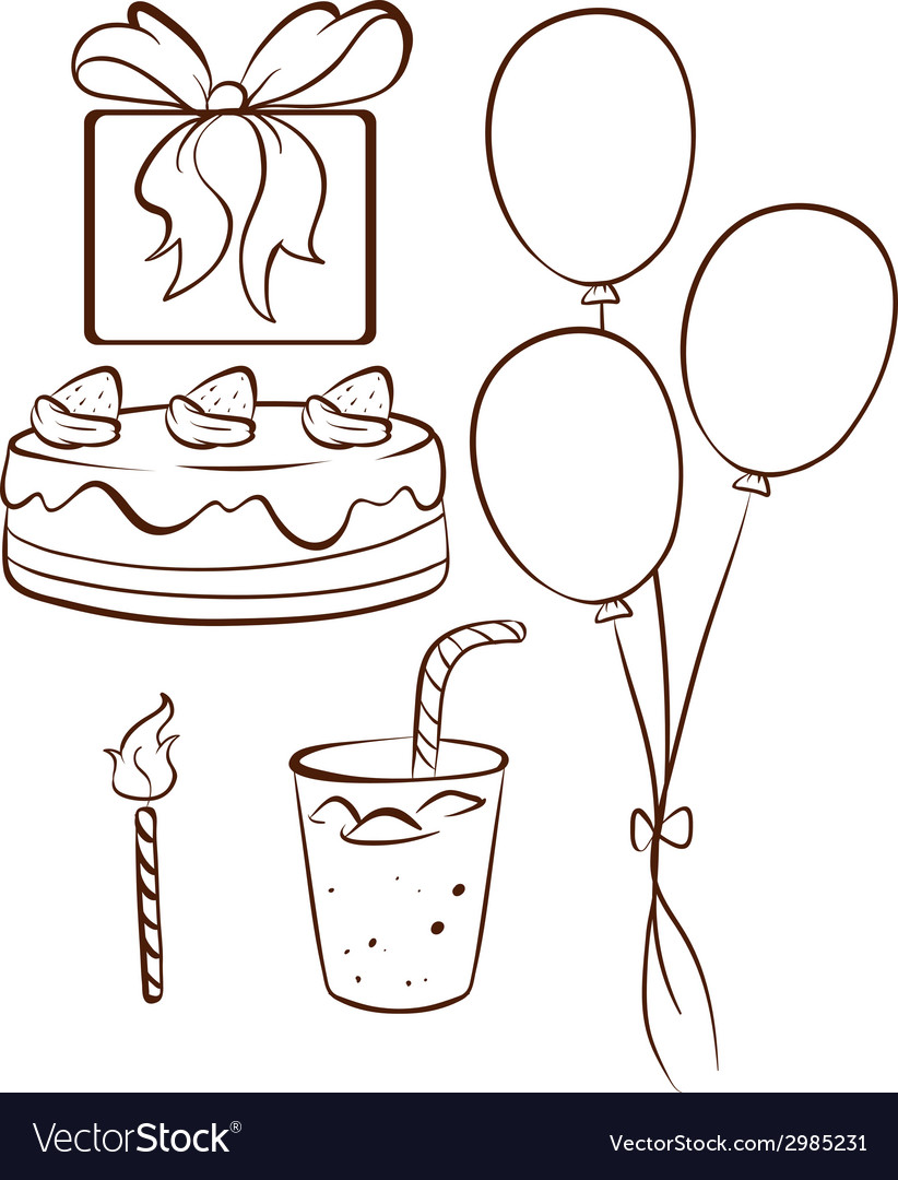 simple birthday party drawings ; a-simple-drawing-of-a-birthday-celebration-vector-2985231