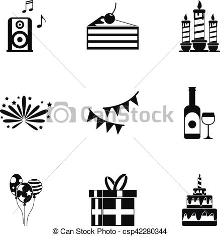 simple birthday party drawings ; birthday-party-icons-set-simple-style-eps-vector_csp42280344